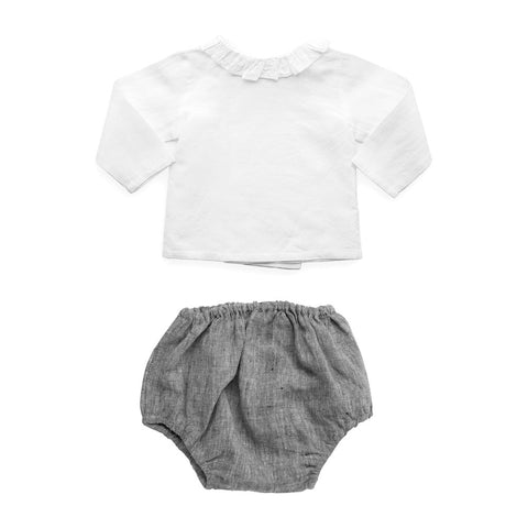 Gift set | Charcoal linen bloomer and blouse