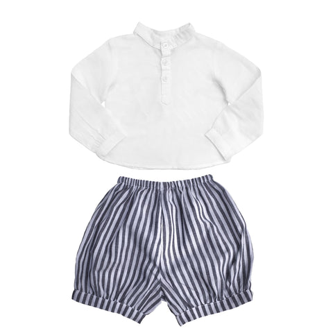 Gift set | Boys White Shirt and Harbor Island Stripe Short