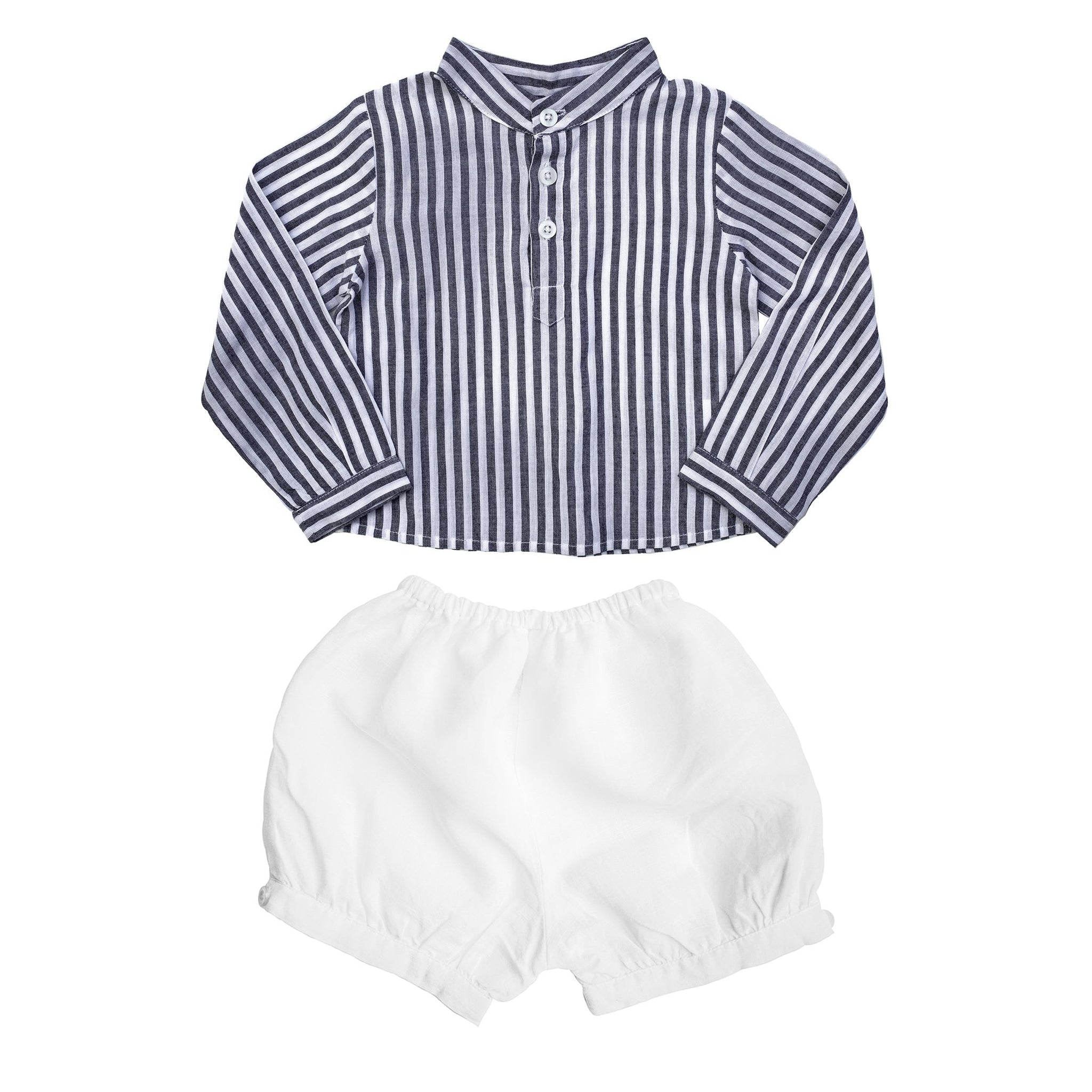 Gift set | Boys Harbor Island Shirt and White Linen Short