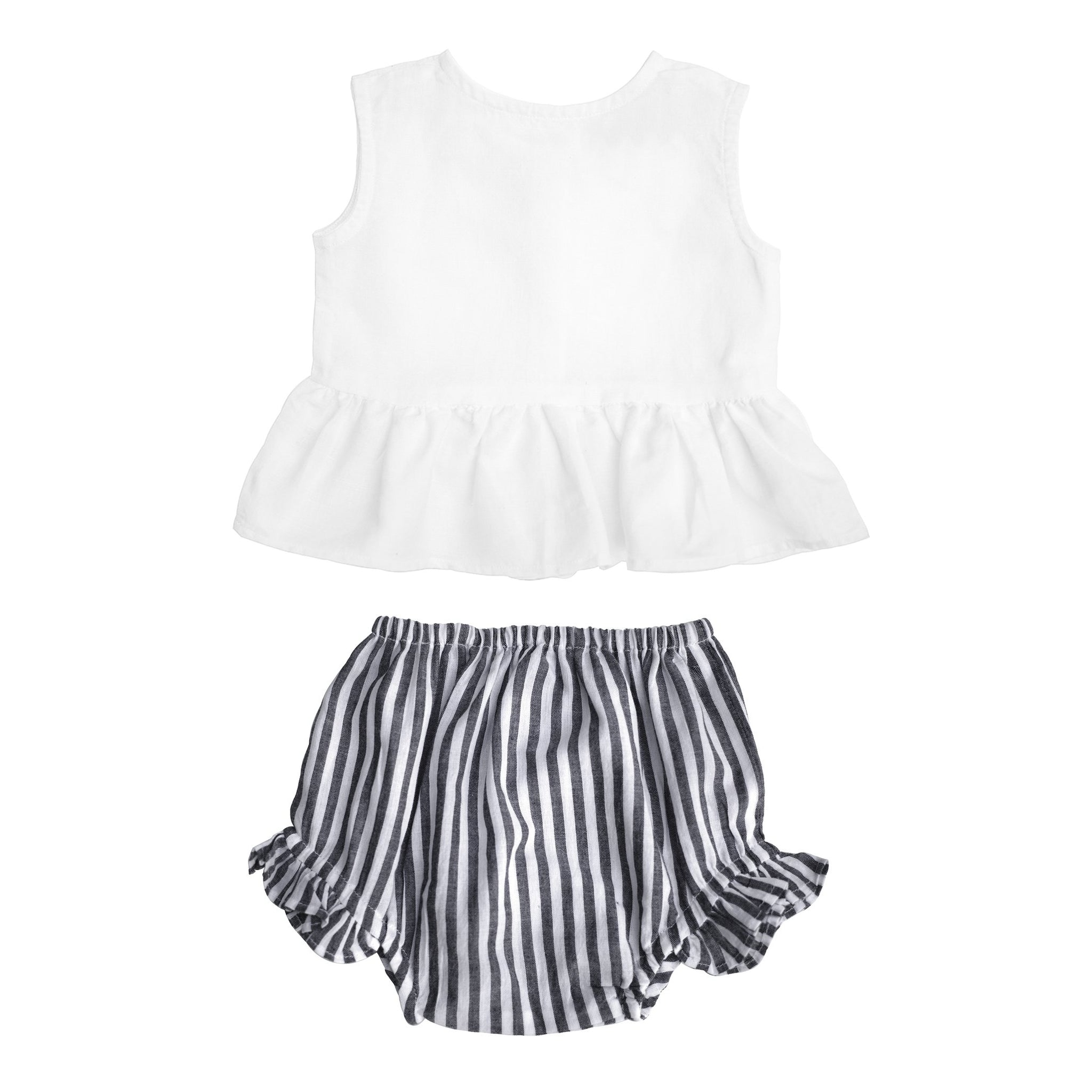 Gift set | Sleeveless White Frill Blouse and Harbor Island Stripe Frill Bloomer