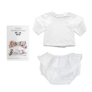 Louelle. x Little Clementines White Linen Liberty Gift Set