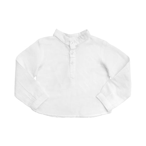 Boys French collar shirt | White linen