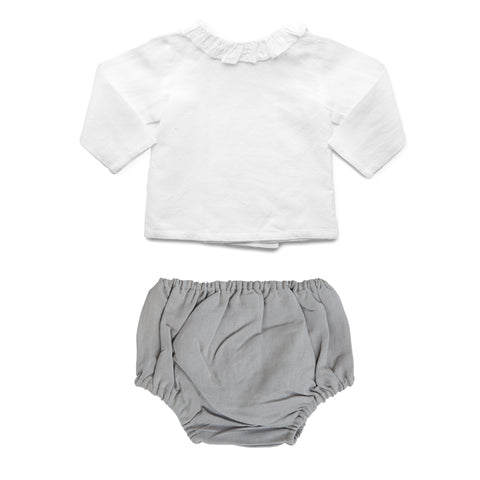Gift set | Summer grey bloomer and white linen blouse