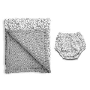 Gift set | Black and white 'Florence' Italian cotton play mat and bloomer