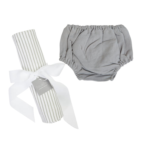Gift set | Summer grey stripe spot swaddle and Summer grey linen bloomers