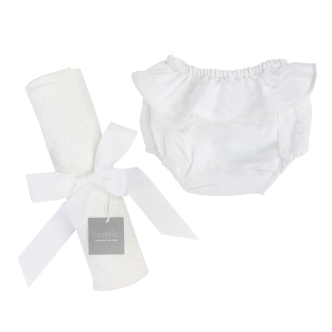 Gift set | Buttercup spot swaddle and white linen frill bloomers
