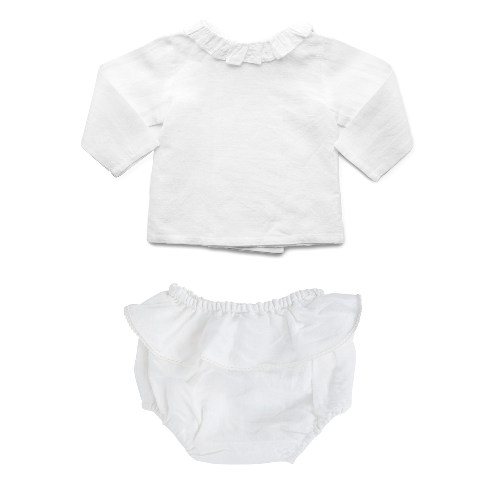 Gift set | White linen frill bloomer and white linen blouse