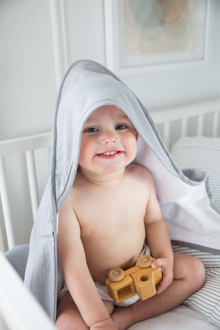 Hooded towel | Summer grey linen