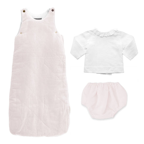 Gift set | Quilted blossom pink linen sleeping bag, bloomer and white linen blouse