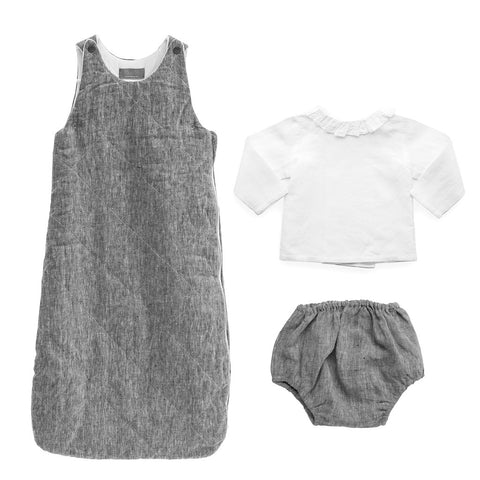 Gift set | Quilted charcoal linen sleeping bag, bloomer and white linen blouse