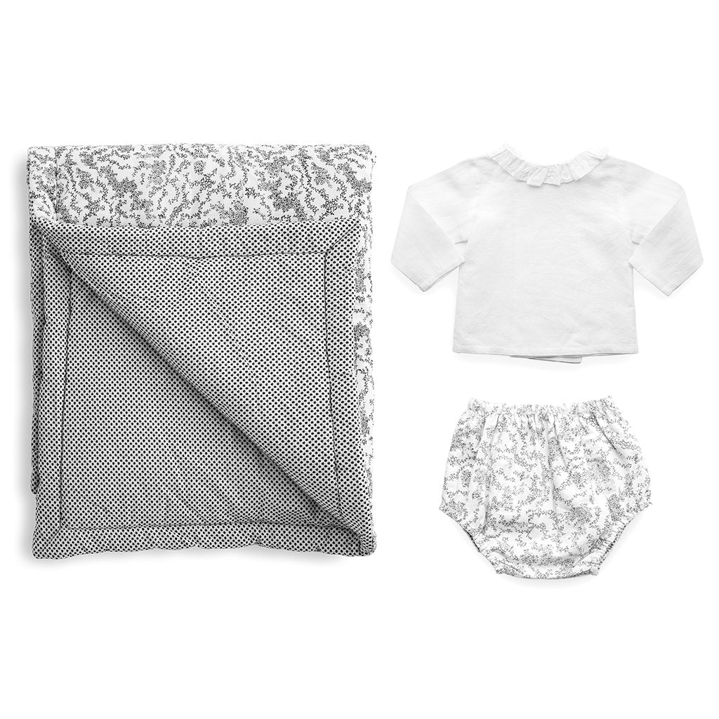 Gift set | Black and white 'Florence' Italian cotton play mat, bloomer and white linen blouse