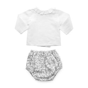 Gift set | Black and white 'Florence' Italian cotton bloomer and white linen blouse