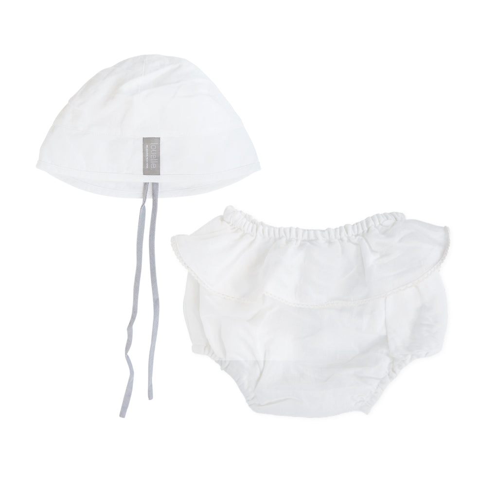 Gift set | White linen bloomer and hat