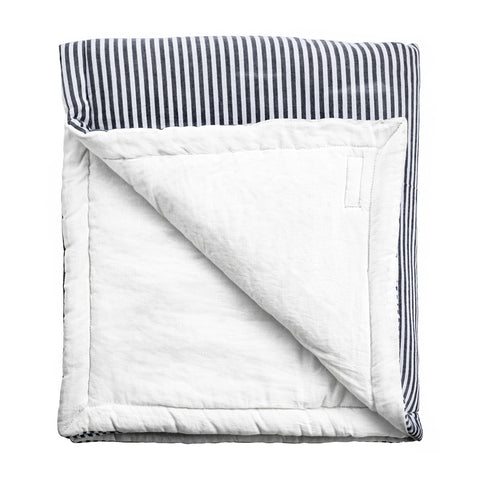 PRE ORDER | Play mat / Quilt | Harbor Island Stripe and White Linen, reversible