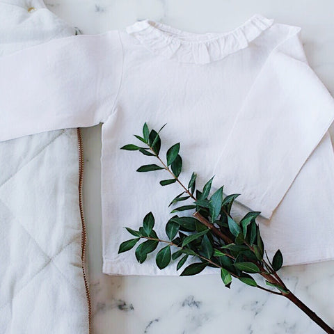 Double button blouse | White linen