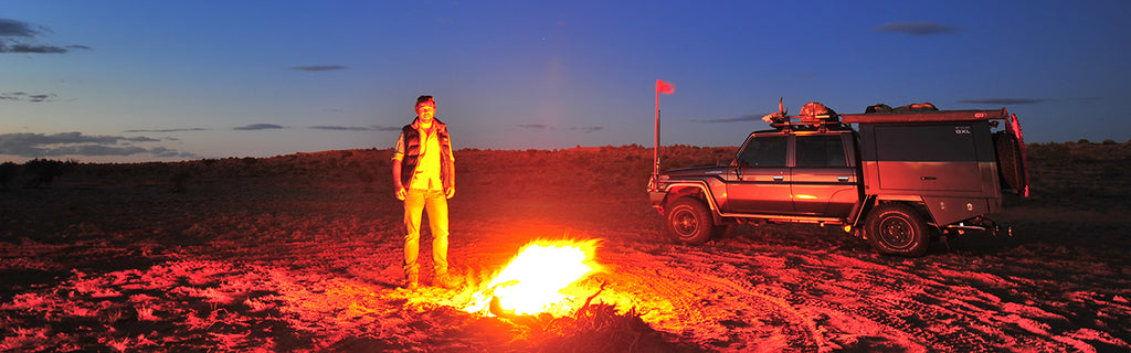 The author exploring the Simpson Desert