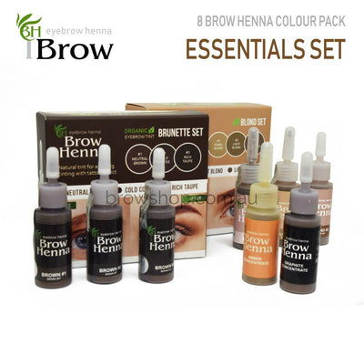 Brow Henna - Henna Essentials Set - 8 Bottles (10ml) ALAUS Microblading Cosmetic Tattoo SPMU PMU