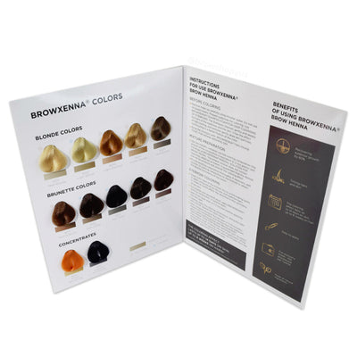 The BrowXenna Colour Chart is used as a reference guide for choosing the right henna tint and dye for your clients. We also stock Cosmetic Tattoo, SPMU & PMU supplies.
