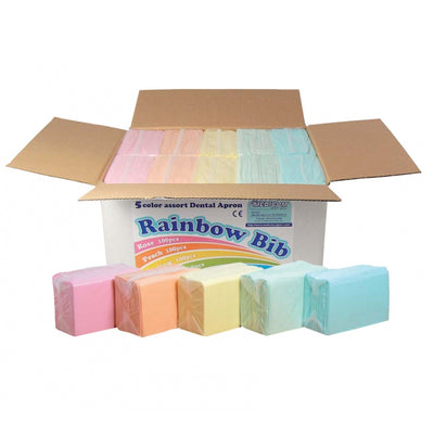Disposable Dental Bibs - 3 ply - 33x45.5cm - Rainbow (125/500 pcs)
