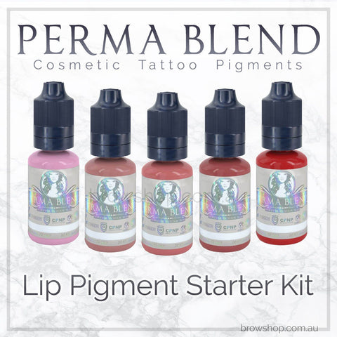 The Perma Blend Lip Pigment Starter Kit is vegan, sterile & made in the US. It's available at Brow Shop among a range of semi permanent tattoo supplies