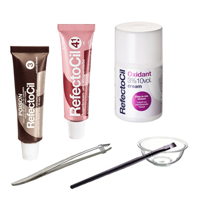 RefectoCil - Lash & Brow Tint Kit (Cream Oxidant) with TWEEZERS - Choose tint colour