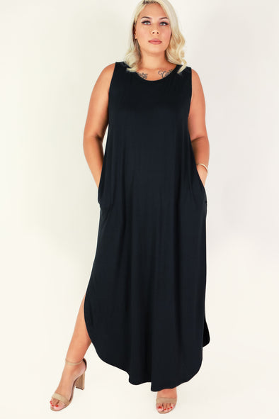 Jeans Warehouse Hawaii - PLUS PLUS SOLID KNIT DRESSES - INDEPENDENT WOMAN MAXI DRESS | By ZENANA (KC EXCLUSIVE,INC
