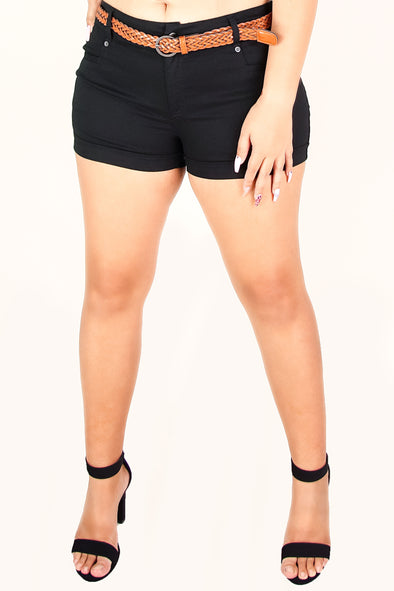 Jeans Warehouse Hawaii - PLUS SOLID WOVEN SHORTS - GOT IT TWISTED SHORTS | By COLOR SWATCH BY JEKNIT