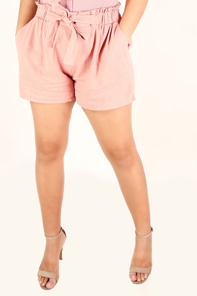 Jeans Warehouse Hawaii - PLUS SOLID WOVEN SHORTS - SHELLY SHORTS | By AMBIANCE APPAREL