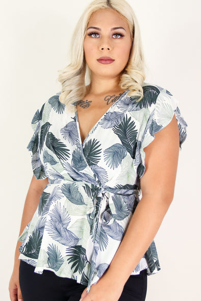 Jeans Warehouse Hawaii - PLUS S/S PRINT WOVEN TOPS - LAST CHANCE TOP | By ZENOBIA