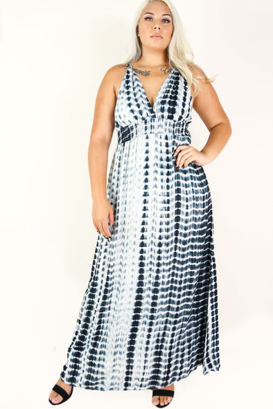 Jeans Warehouse Hawaii - PLUS PLUS WOVEN PRINT DRESSES - MY PEACEFUL PLACE MAXI DRESS | By TALENT