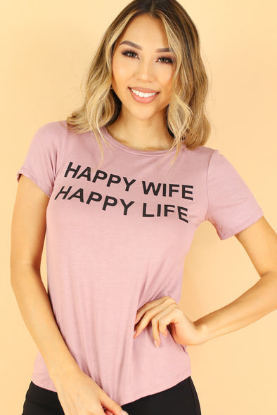 Jeans Warehouse Hawaii - S/S SCREEN - HAPPY WIFE TEE | By LUZ