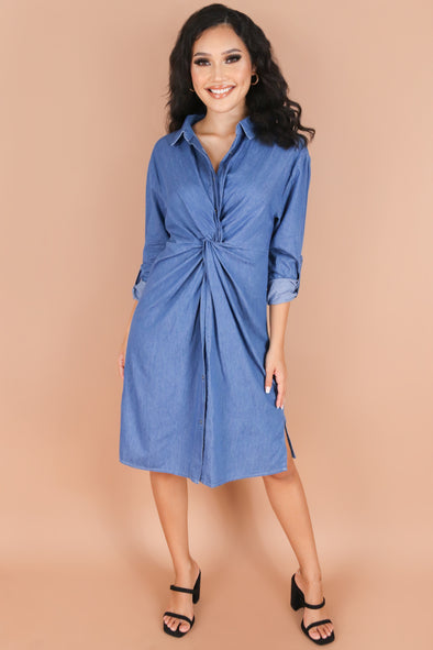 Jeans Warehouse Hawaii - SLEEVE LONG SOLID DRESSES - PRAISE YOU DRESS | By EMMA JEANS