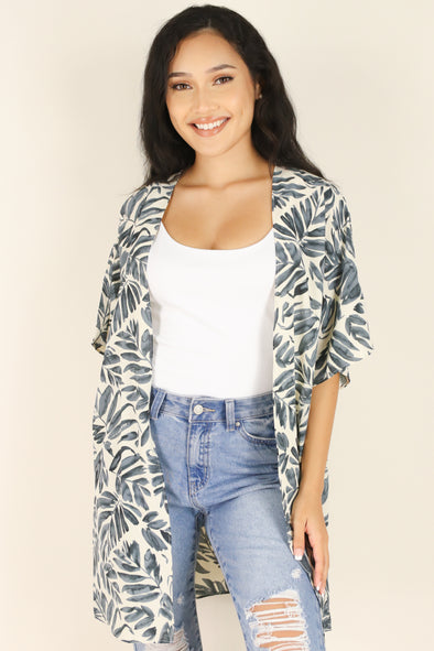Jeans Warehouse Hawaii - S/S PRINT WOVEN DRESSY TOPS - FEEL THE BEAT CARDIGAN | By LIME N CHILI