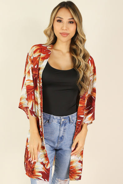 Jeans Warehouse Hawaii - S/S PRINT WOVEN DRESSY TOPS - SLOW SONG CARDIGAN | By PAPERMOON/ B_ENVIED