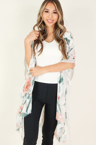 Jeans Warehouse Hawaii - S/S PRINT WOVEN DRESSY TOPS - OFF TOPIC CARDIGAN | By MIZ FASHION