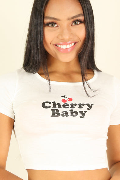 Jeans Warehouse Hawaii - S/S SCREEN - CHERRY BABY TEE | By G MINI