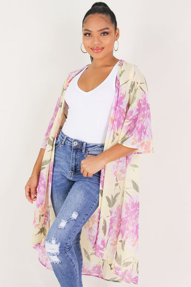 Jeans Warehouse Hawaii - L/S PRINT WOVEN DRESSY TOPS - LOOK AT YOU CARDIGAN | By I&I WHOLESALES CORP