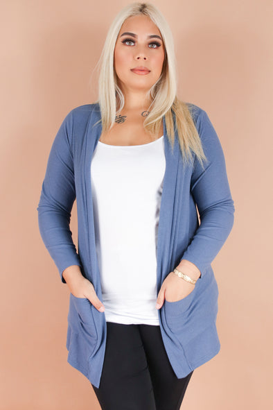 Jeans Warehouse Hawaii - PLUS SOLID LONG SLV CARDIGANS - ON A SWEET NOTE CARDIGAN | By ROSIO