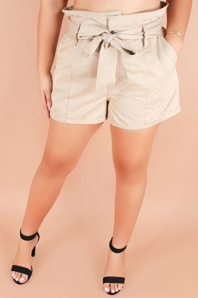 Jeans Warehouse Hawaii - PLUS SOLID WOVEN SHORTS - PUT IT IN THE BAG SHORTS | By KAY FASHION