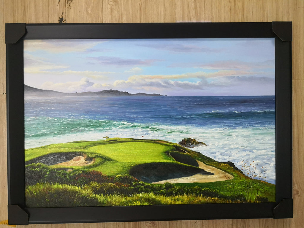 Pebble Beach Hole #7 24x36 Inch Oil Painting