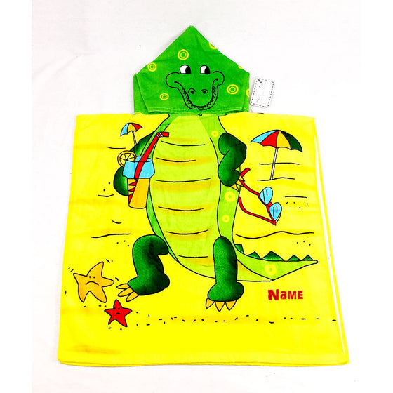 Alligator Chidlren's Personalized Poncho Beach Towel front