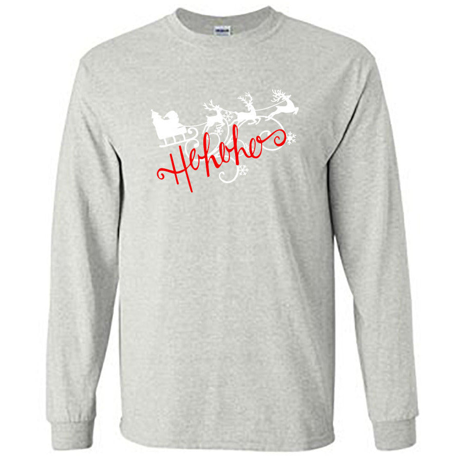 Ho Ho Ho Christmas Long Sleeve Shirt - Adult ash