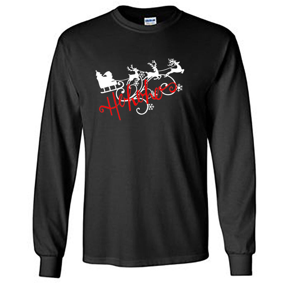 Ho Ho Ho Christmas Long Sleeve Shirt - Adult black