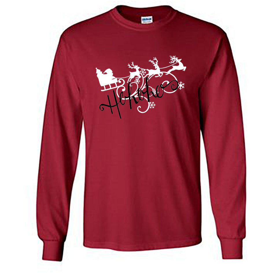 Ho Ho Ho Christmas Long Sleeve Shirt - Adult cardinal red