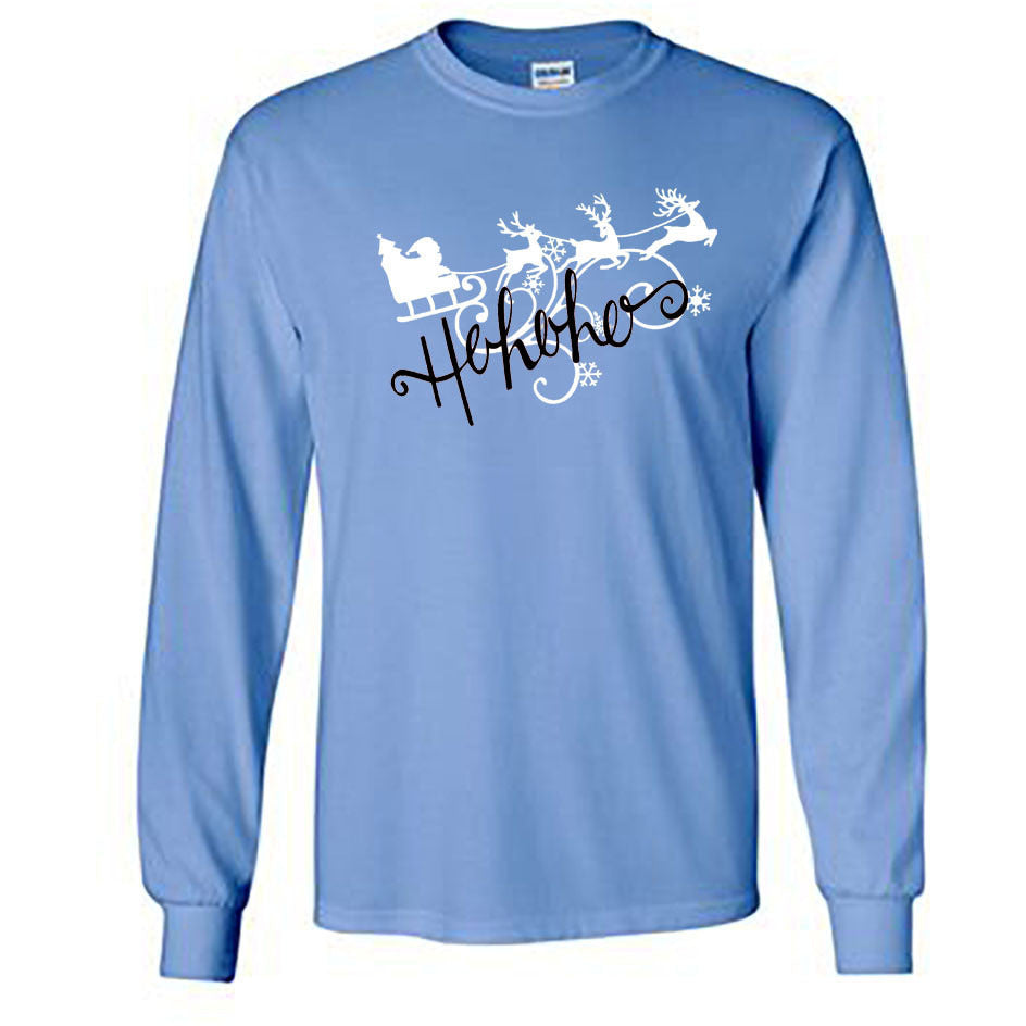 Ho Ho Ho Christmas Long Sleeve Shirt - Adult carolina blue
