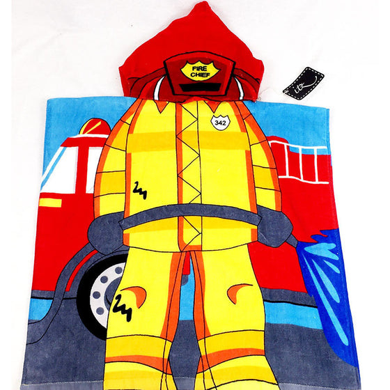 Fireman Children's Personalized Poncho Beach Towel front