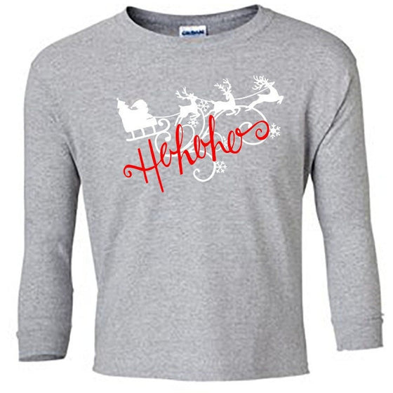 Ho Ho Ho Christmas Long Sleeve Shirt - Child ash