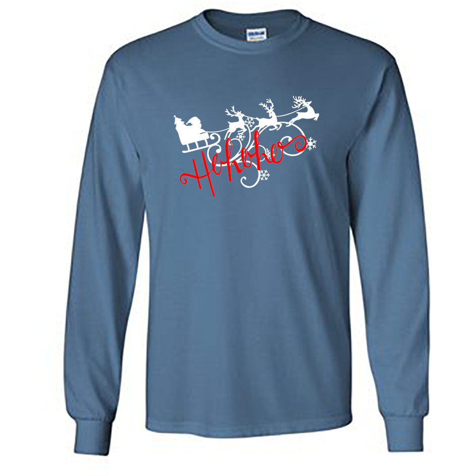 Ho Ho Ho Christmas Long Sleeve Shirt - Adult indigo blue