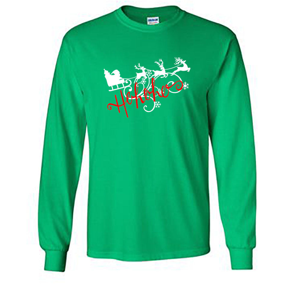Ho Ho Ho Christmas Long Sleeve Shirt - Adult kelly green