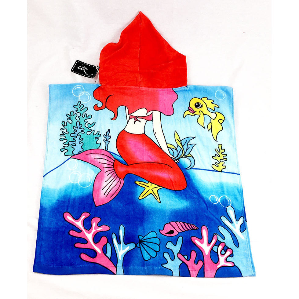Mermaid (style 1) Chidlren's Personalized Poncho Beach Towel back